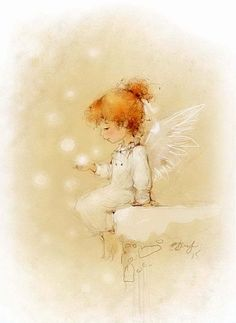 Young Fairy ~ By Eceniya Blath Christmas Illustration, Illustration Art, Illustrations, Christmas Angels, Christmas Art, Angel Pictures, Guardian Angels, Angel Art, Whimsical Art