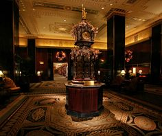 Best U.S. Hotels for the Holidays   Waldorf-Astoria New York City    The Waldorf itself goes all out in December, adorning the lobby with towering trees and wreaths, decorating its central clock tower with handblown-glass Fabergé ornaments, and draping the Park Avenue exterior with thousands of lights.