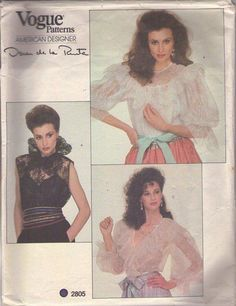 MOMSPatterns Vintage Sewing Patterns - Vogue 2805 Vintage 80's Sewing Pattern INCREDIBLE American Designer Oscar de la Renta Romantic Sheer, Victorian Steam Punk Frilly, Lacy Blouse, Cocktail Party Top Set, 3 Styles Size 8