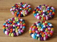 Felt ball coasters by NomiMakes via @twinkiechan