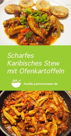 Scharfes Karibisches Stew mit Ofenkartoffeln Chili, Chicken Wings, Green Beans, Meat, Vegetables, Cuba, Food, Delicious Dishes, Easy Meals