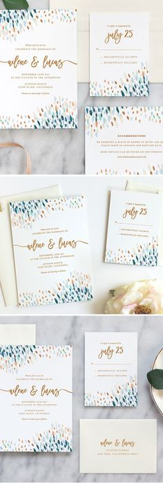 Love these beautiful watercolor wedding invitations by Fine Day Press #weddinginvitation