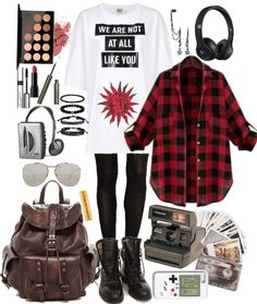 Discover outfit ideas for everyday made with the shoplook outfit maker. How to wear ideas for Tight End Tights Original and logo printed T-shirt Cute Emo Outfits, Teen Girl Outfits, Edgy Outfits, Retro Outfits, Grunge Outfits, Simple Outfits, Outfits For Teens, Fashion Outfits, Scene Outfits
