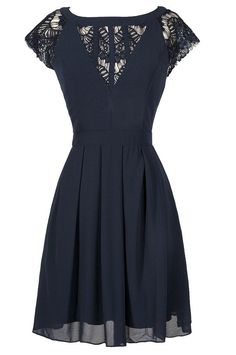 Navy Chiffon and Lace Capsleeve A-Line Dress  www.lilyboutique.com