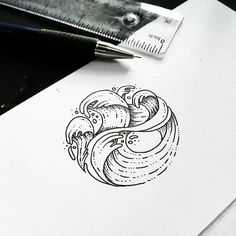 Tattoo designs by Sollefe on We Heart It .- Tattoo designs by Sollefe💓 on We Heart It – diy tattoo images - Tattoo Design Drawings, Tattoo Sketches, Drawing Sketches, Tattoo Designs, Mini Tattoos, Small Tattoos, Wave Drawing, Inspiration Drawing, Et Tattoo