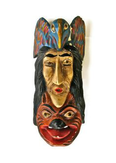 Vintage Decorative Mexican Mask from Guerrero by SwampPink on Etsy, $79.00