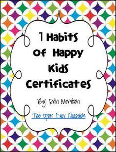 7 Habits of Happy Kids Certificates - Erin Morrison - TeachersPayTeachers.com