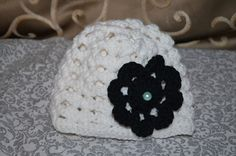Crochet Girls Hat/Beanie with flower and Pearl by ESCreations14