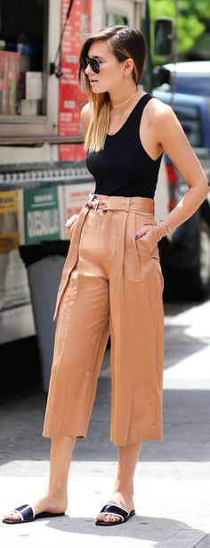 Zara Brown Belt Wide Crop Trousers by We Wore What. I kid you not , you are a fool if you do not purchase them this year...