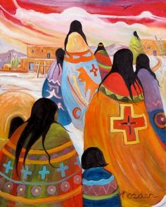 Paintings by Marilu: Vibrant Spirits of the Southwest Working with a vibrant palette using a variety of media, Marilu Norden invites the viewer to Native American Paintings, Native American Artists, Native American Indians, Deviant Art, Southwestern Art, American Indian Art, American History, Mystique, Arte Popular