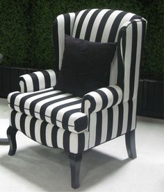 black wing back chairs | Encore/Black u0026 White Stripe Wing Back Chair | Town & nice linen fabric...want in green Gray Striped Linen Wingback Chair ...