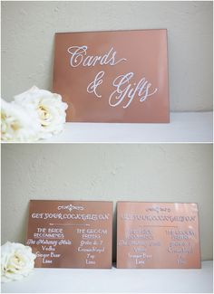 Grouping of a Custom Cards & Gifts and pair of Acrylic Cocktails Signs with rose gold backing (feature no longer offered). Hand painted Plexiglass Wedding Signage.
