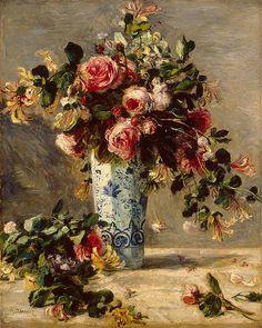 Renoir - Roses & Jasmin in a Delft Vase 1880-81