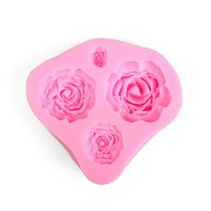 Roses Flexible Silicone 4-Cavity Mold for Polymer Clay Food
