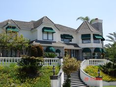 California home with awnings