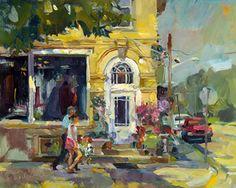 Flower Shop Paintings | Flower Shop Doorway, Painting by Tom Nachreiner