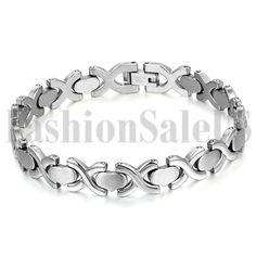 Fashion Mens Womens Silver Tone Stainless Steel Heart Wristband Bangle Bracelet…