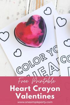 Let your special Valentines color their hearts out with these Free Printable Heart Crayon Valentines. Make your own heart crayons and attach to these FREE Printable Heart Crayon Valentines. Perfect for a creative classroom Valentine idea. #heartcrayonvalentines #heartcrayonvalentinesforkids #heartcrayonvalentineprintable Cute Valentine Ideas, Valentines Design, Valentines For Kids, Valentine Day Crafts, Diy Crayons, Melting Crayons, Melted Crayon Heart, Valentine's Cards For Kids, Valentine's Day Printables