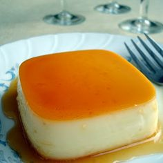 """Creamy vanilla Flan~I always think of Sabrina the Teenage Witch's comment on flan: """"you just can't be unhappy if you have flan.  It's just a jiggly happy dessert.""""  or something like that."""