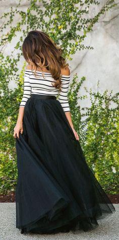 #fall #fashion / stripes + tulle skirt