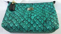 Nwt Emerald Green Coach Getaway nylon cosmetic bag snake animal print bag Coach Of The Year, Emerald Green, Cosmetic Bag, Snake, Coin Purse, Cosmetics, Wallet, Best Deals, Bags
