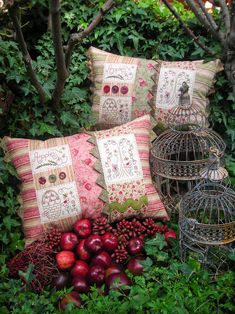 """""""Apple Harvest"""" by Sally Giblin of The Rivendale Collection. Finished cushion size: 22 ½"""" x 15"""""""
