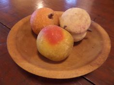 Antique Stone Fruit / Marble Fruit..Primitive Victorian Country Farm Basket Wooden Bowl Orchard Apple Orange Peach Centerpiece Kitchen Dine by buckeyeantiques on Etsy