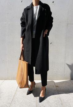 Black coat, grey sweater, black trousers, black heels & tan tote bag | @styleminimalism