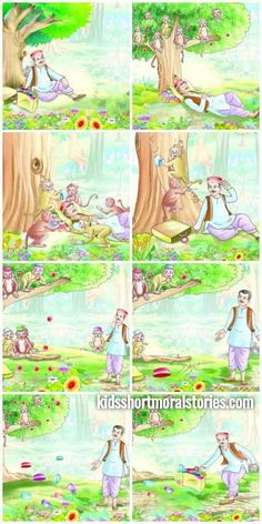 The Cap Seller And The Monkeys Story With Moral: Clever thinking can easily solve a problem. Stories With Moral Lessons, English Moral Stories, Short Moral Stories, English Stories For Kids, Moral Stories For Kids, Short Stories For Kids, English Story, Kids Story Books, Picture Story Writing