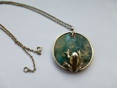 1980s NORMAN GRANT Scottish Silver Moss Agate Frog pendant necklace  | eBay £143.24 (8B) +4.20PP
