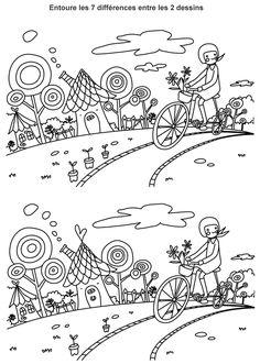 Jeu des différences à imprimer, promenade à vélo