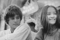 """Leonard Whiting and Olivia Hussy. Photo taken during production of Franco Zeffirelli's 1968 """"Romeo and Juliette."""""""