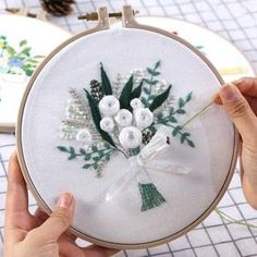 Flower Bouquet Ribbon DIY Hand Embroidery Kit Printed Pattern Hoop Art Home Decor Gift Hand Embroidery Tutorial, Embroidery Flowers Pattern, Embroidery Hoop Art, Hand Embroidery Designs, Ribbon Embroidery, Pattern Flower, Embroidery Sampler, Freetime Activities, Needlework