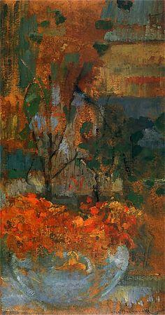Olga Boznańska  (Kraków 1865 - Paryż 1940)  Nasturcje Ok. 1906. Olej na tekturze. 56 x 29 cm.  Muzeum Narodowe w Krakowie.