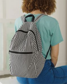 Packable Backpack - Black and White Stripe | BAGGU