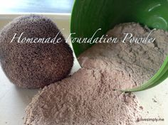 Homemade Foundation Powder  1/4 cup Arrowroot Powder (start with this as your base. You can go back later and add more if you need a lighter powder) 4 Tablespoons cocoa powder or cacao powder 1/4 teaspoon EACH nutmeg and ginger (if you have more of an olive skin complexion you may need more) 1 teaspoon Cinnamon 2 teaspoons Bentonite Clay 10 drops of Vitamin E 12 drops of Lavender Essential Oil