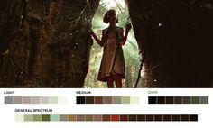 Pan's Labyrinth, 2006.  Cinematography: Guillermo Navarro.  #cinematography #colour Movie Color Palette, Colour Pallete, Color Palettes, Color Schemes, Movie Scene, Film Movie, Pan's Labyrinth Movie, Color Script, Color Grading