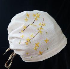 20번 개나리꽃 자수두건 : 네이버 블로그 Drawstring Backpack, Diy And Crafts, Ribbon, Beanie, Backpacks, Sewing, Bags, Fashion, Beanies
