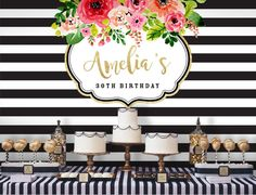 Black and White Flower Backdrop | Adults Party Banner | Poster | Signage | Personalised | Printable ONLY | Birthday Backdrop
