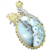 Big! Fashion Dragon AAA Dendritic Agate, Two Tones Sterling Silver Pendant