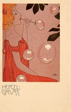 Art nouveau greeting card 'Herzl Gruss' by Carl Jozsa, ca. 1900.