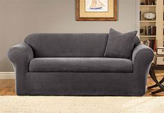 TO PROTECT LIVING ROOM FURNITURE: Sure Fit Slipcovers Stretch Metro Separate Seat - Sofa