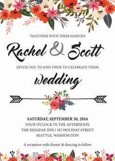 Wedding Invitation Printable by PrettyPrintsByHannah on Etsy