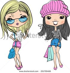 Fashion Sweet Girls Vectores en stock y Arte vectorial | Shutterstock