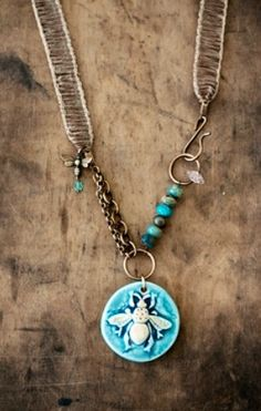 This one of a kind necklace features a beautiful ceramic pendant handmade by Nan Emmett of Spirited Earth and is accented with mottled turquoise Bee Jewelry, Clay Jewelry, Jewelry Crafts, Jewelry Art, Vintage Jewelry, Jewelry Necklaces, Jewelry Design, Ceramic Pendant, Ceramic Jewelry