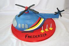 Helicopter Cake - www.suikerbekkie.co.za Fireman Sam Helicopter, Helicopter Cake, Helicopter Birthday, Thomas Birthday Parties, 2nd Birthday, Birthday Cakes, Birthday Ideas, Happy Birthday, Fondant