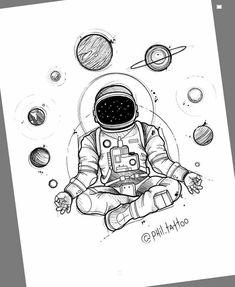 Doodle art 35184440826695468 - art drawings * art sketches – art – art sketchbook – art inspiration – art drawings – art girl – art wallpaper – art reference Source by mihairdulescu Space Drawings, Cute Drawings, Drawing Sketches, Tattoo Drawings, Tattoo Sketches, Van Drawing, Drawing Artist, Doodle Art, Astronaut Tattoo