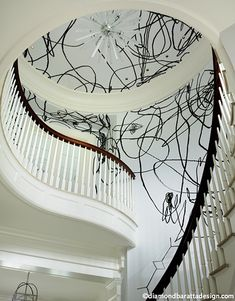 Very Kelly Wearstler inspired graffiti haphazardly yet oh-so intentionally crafted onto foyer walls, stairs, curtains, fabrics, furnishings in a laissez ...