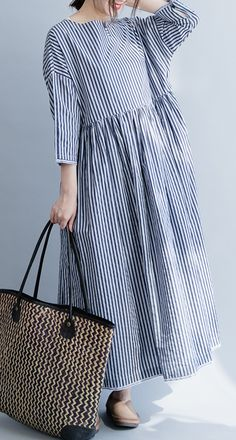 blue striped cotton clothes Women Stitches Neckline o neck Three Quarter .- blue striped cotton clothes Women Stitches Neckline o neck Three Quarter . Long Fall Dresses, Casual Dresses, Summer Dresses, Linen Dresses, Cotton Dresses, Maxi Dresses, Looks Plus Size, Hijabs, Clothes Women