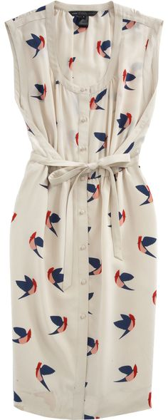 Bird Print Dress - but truthfully, I don't like the print... it's the silhouette & waist-tie detail that I like